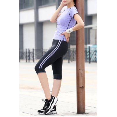 Trendy Round Neck Short Sleeve Hit Color Stretchy Womens Activewear SuitYoga<br>Trendy Round Neck Short Sleeve Hit Color Stretchy Womens Activewear Suit<br><br>Material: Polyester<br>Clothing Length: Regular<br>Sleeve Length: Short<br>Pattern Style: Solid<br>Weight: 0.140KG<br>Package Contents: 1 x T-Shirt  1 x Cropped Pants