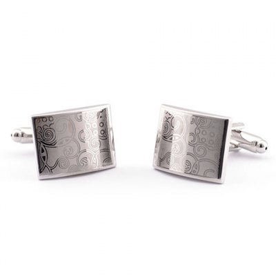 Pair of Fashionable Laser Floral Pattern Rectangle Shape Cufflinks For Men