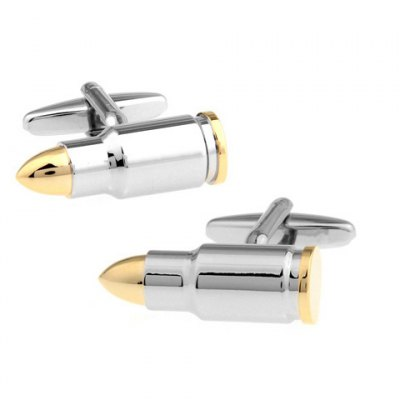 Pair of Fashionable Bi-Color Bullet Shape Cufflinks For Men