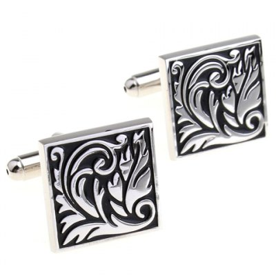 Pair of Fashionable Baking Paint Floral Pattern Square Shape Cufflinks For Men