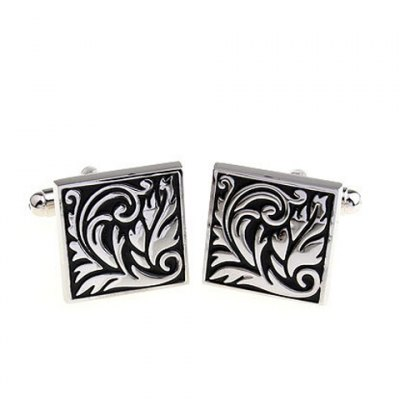 Pair of Stylish Baking Paint Floral Pattern Square Shape Cufflinks For Men