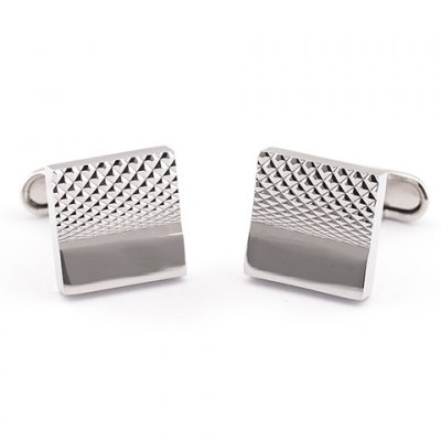 Pair of Fashionable Geometric Pattern Square Shape Cufflinks For Men
