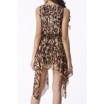 Chic Scoop Neck Leopard Sleeveless Dress For Women for sale