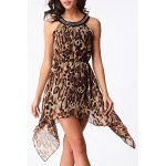 Chic Scoop Neck Leopard Sleeveless Dress For Women