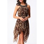 cheap Chic Scoop Neck Leopard Sleeveless Dress For Women