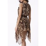 Chic Scoop Neck Leopard Sleeveless Dress For Women deal