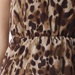 Chic Scoop Neck Leopard Sleeveless Dress For Women photo