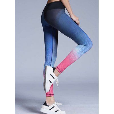ФОТО Stylish Elastic Waist Slimming Color Block Yoga Pants For Women