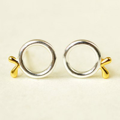 Pair of Hollow Out Round Sprout Stud Earrings