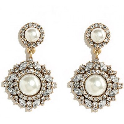 Pair of Stunning Rhinestoned Artificial Pearl Earrings For Women