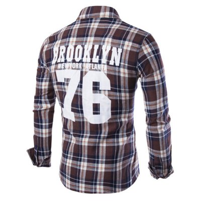 Double Flap Pocket Letters Number Pattern Shirt Collar Long Sleeves Plaid Shirt For MenMens Shirts<br>Double Flap Pocket Letters Number Pattern Shirt Collar Long Sleeves Plaid Shirt For Men<br><br>Shirts Type: Casual Shirts<br>Material: Cotton Blends<br>Sleeve Length: Full<br>Collar: Turn-down Collar<br>Weight: 0.290KG<br>Package Contents: 1 x Shirt