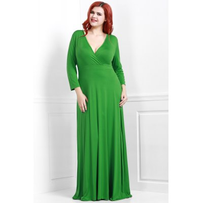Sexy Plunging Neckline 3/4 Sleeve Plus Size Solid Color Dress For Women