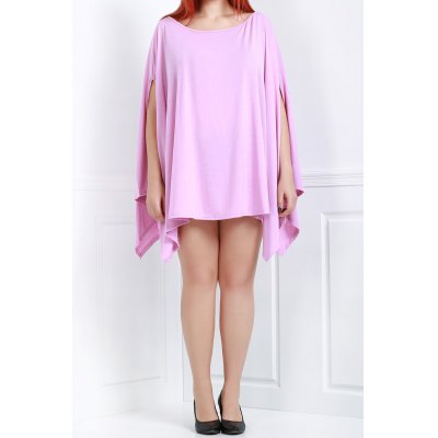 Solid Color 1/2 Batwing Sleeve Asymmetric Loose Caped Top