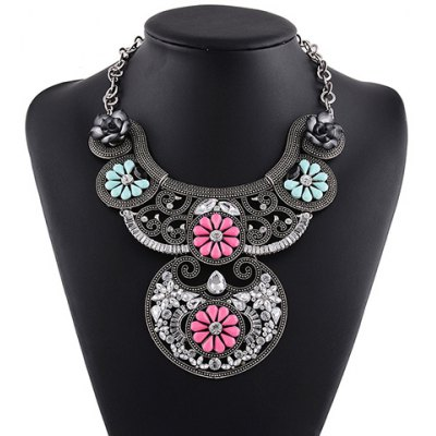 Retro Faux Crystal Floral Necklace