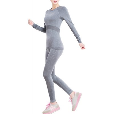 Active Round Neck Gray Long Sleeve T-Shirt and Leggings Twinset For Women