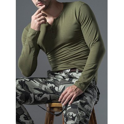 Solid Color Button Embellished Round Neck Long Sleeves T-Shirt For Men