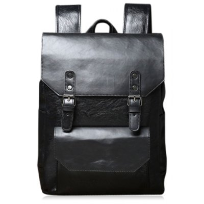Casual Double Buckle and Black Color Design Backpack For Men