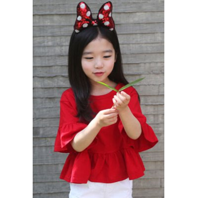 Scoop Neck Puff Sleeve Red Loose-Fitting Blouse For Girl