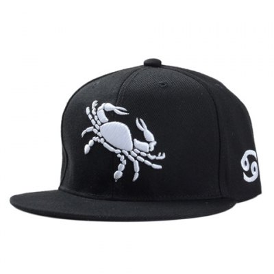 Stylish White Crab Embroidery Black Baseball Cap For Men