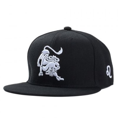 Stylish White Lion Embroidery Black Baseball Cap For Men