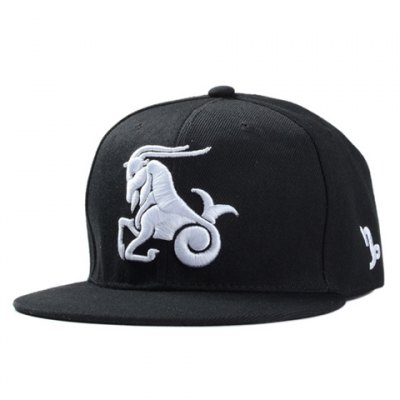 Stylish Capricorn Embroidery Black Baseball Cap For Men