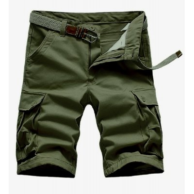 Loose Fit Straight Leg Solid Color Multi-Pocket Zipper Fly Cargo Shorts For Men