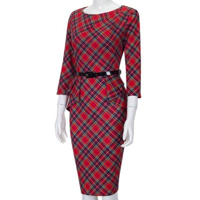 OL Slash Neck 3/4 Sleeve Plaid Bodycon Dress For WomenWomens Dresses<br>OL Slash Neck 3/4 Sleeve Plaid Bodycon Dress For Women<br><br>Style: Work<br>Material: Cotton,Polyester<br>Silhouette: Sheath<br>Dresses Length: Knee-Length<br>Neckline: Slash Neck<br>Sleeve Length: 3/4 Length Sleeves<br>Pattern Type: Plaid<br>With Belt: Yes<br>Season: Fall,Spring,Summer<br>Weight: 0.450KG<br>Package Contents: 1 x Dress  1 x Belt