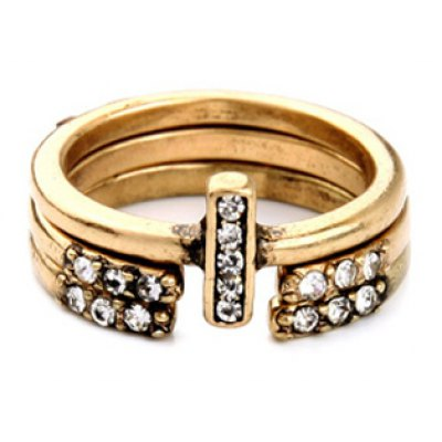 A Suit of Retro Rhinestone Decorated Cuff Ring For Women