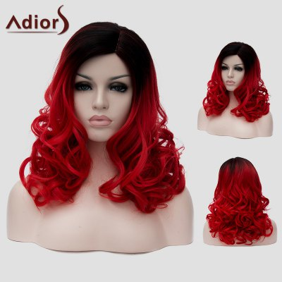 Adiors Black Red Gradient Capless Long Fluffy Wavy Synthetic Universal Wig