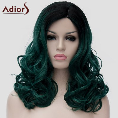 Fashion Black Ombre Dark Green Synthetic Long Fluffy Wavy Capless Universal Wig For Women