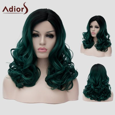 Adiors Black Ombre Dark Green Synthetic Long Fluffy Wavy Capless Universal Wig