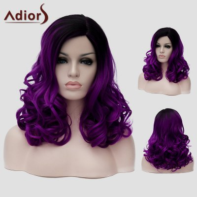 Adiors Long Fluffy Wavy Capless Black Purple Ombre Synthetic Universal Wig