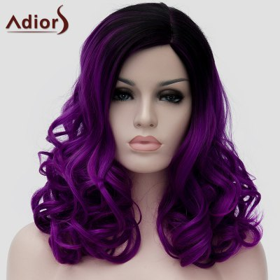 Charming Long Fluffy Wavy Capless Black Purple Ombre Synthetic Universal Wig For Women