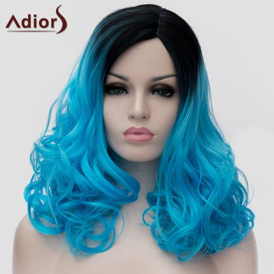 Vogue Long Black Blue Gradient Capless Shaggy Wavy Synthetic Universal Wig For Women