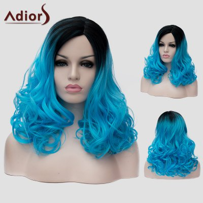 Adiors Long Black Blue Gradient Capless Shaggy Wavy Synthetic Universal Wig