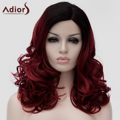 Nobby Black Ombre Wine Red Capless Fluffy Long Wavy Synthetic Universal Wig For Women