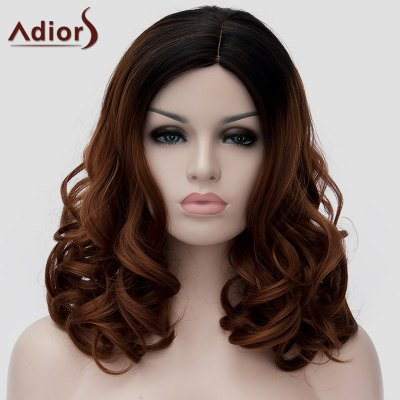 Fluffy Long Wavy Synthetic Stylish Black Ombre Dark Brown Capless Universal Wig For Women