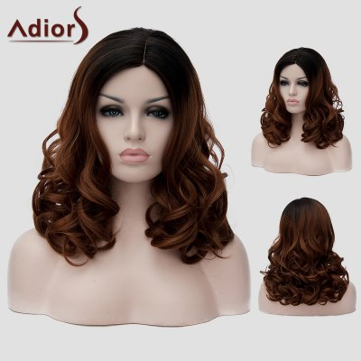 Adiors Fluffy Long Wavy Synthetic Stylish Black Ombre Dark Brown Capless Universal Wig