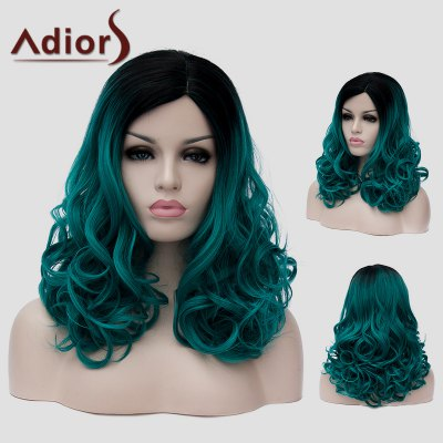 Adiors Black Ombre Blackish Green Capless Fluffy Wavy Synthetic Long Universal Wig