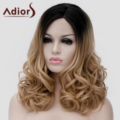 Фотография Shaggy Wavy Synthetic Nobby Long Black Ombre Brown Side Bang Universal Wig For Women