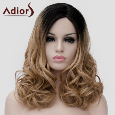 Shaggy Wavy Synthetic Nobby Long Black Ombre Brown Side Bang Universal Wig For Women