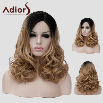 Adiors Shaggy Wavy Synthetic Long Black Ombre Brown Side Bang Universal Wig