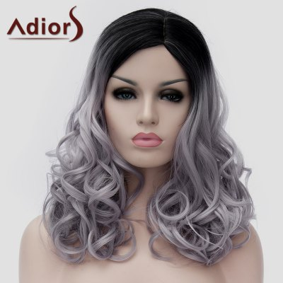 Trendy Long Shaggy Wavy Synthetic Black Gray Gradient Capless Universal Wig For Women