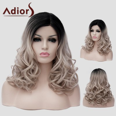 Adiors Black Ombre Ash Blonde Long Synthetic Shaggy Wavy Capless Universal Wig