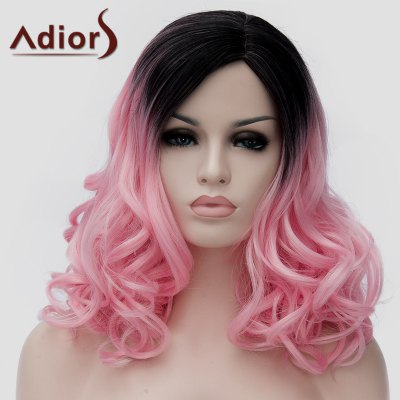 Charming Long Synthetic Black Pink Gradient Shaggy Wavy Side Bang Wig For Women