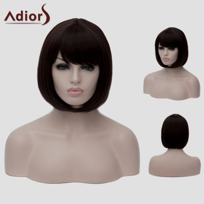 Adiors Bob Style Dark Brown Short Straight Synthetic Wig