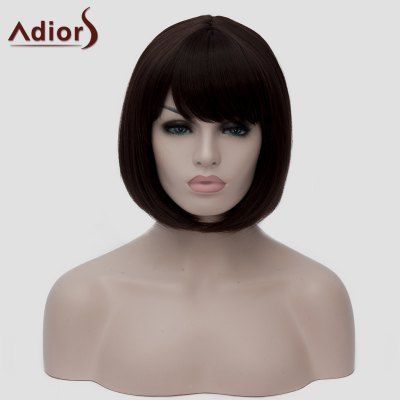 Bob Style Dark Brown Short Fashion Straight Synthetic Wig For Women