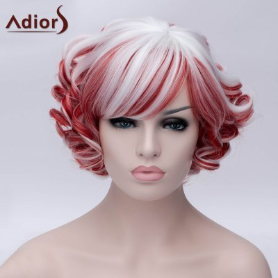 Fashion Red and White Highlight Synthetic Short Side Bang Fluffy Curly Wig For Women