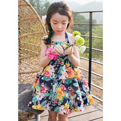 Cute Floral Pring Halter Neck A-Line Girl's Pleated Dress