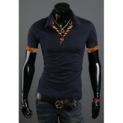 Turn Down Collar Tiger Print Short Sleeves T-Shirt For Men